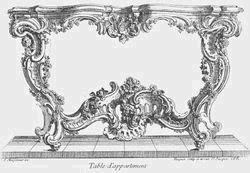 Desain meja gaya rokoko oleh Juste-Aurèle Meissonnier, Paris tahun 1730