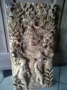 relief ukir 3 dimensi motif pertanian